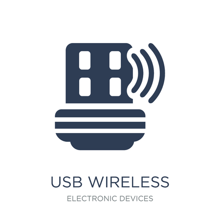 usb wireless adapter icon. Trendy flat vector usb wireless adapter icon on white background from Electronic devices collection, vector illustration can be use for web and mobile, eps10 向量圖像