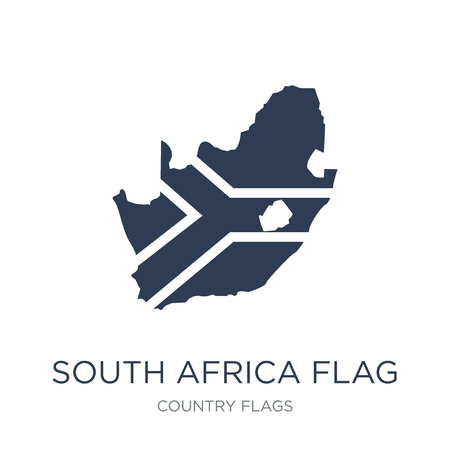 South Africa flag icon. Trendy flat vector South Africa flag icon on white background from Country Flags collection, vector illustration can be use for web and mobile, eps10 Stock Illustratie