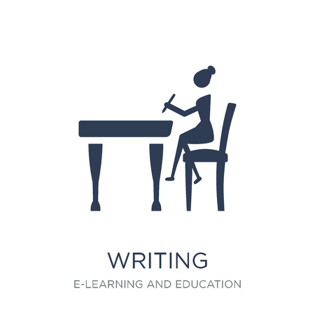Writing icon. Trendy flat vector Writing icon on white background from E-learning and education collection, vector illustration can be use for web and mobile, eps10