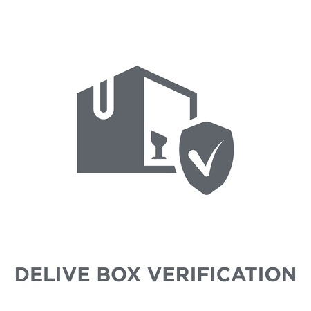 Delivered Box Verification icon. Delivered Box Verification design concept from Delivery and logistic collection. Simple element vector illustration on white background. Foto de archivo - 112096154