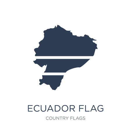 Ecuador flag icon. Trendy flat vector Ecuador flag icon on white background from Country Flags collection, vector illustration can be use for web and mobile, eps10 Imagens - 112096157