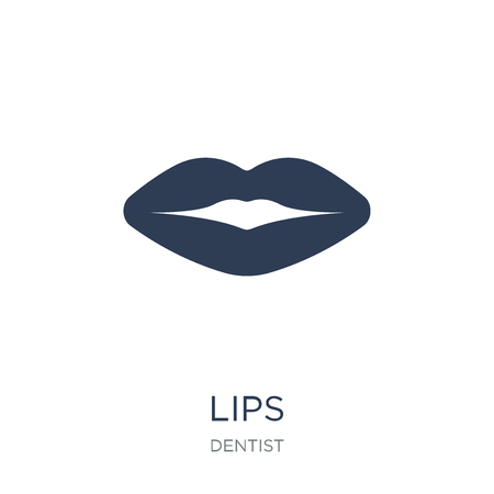 Lips icon. Trendy flat vector Lips icon on white background from Dentist collection, vector illustration can be use for web and mobile, eps10 Standard-Bild - 112096162