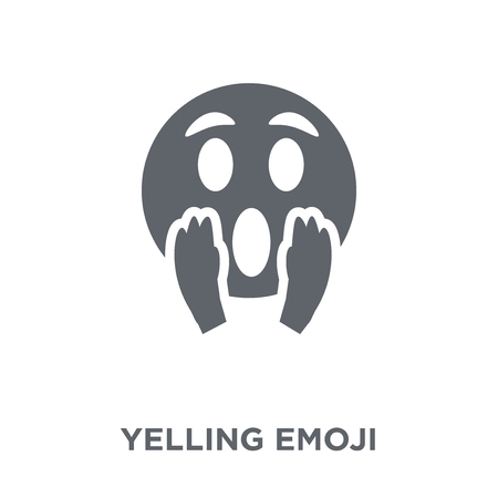 Yelling emoji icon. Yelling emoji design concept from Emoji collection. Simple element vector illustration on white background. Çizim