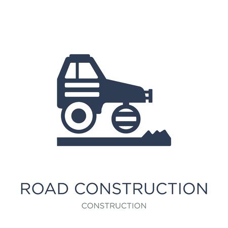 道路建設アイコン。建設コレクションから白背景にトレンディフラットベクトル道路建設アイコン、ベクターイラストは、ウェブやモバイル、eps10のために使用することができます ベクターイラストレーション
