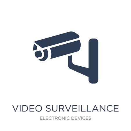 video surveillance icon. Trendy flat vector video surveillance icon on white background from Electronic devices collection, vector illustration can be use for web and mobile, eps10
