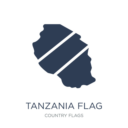 Tanzania flag icon. Trendy flat vector Tanzania flag icon on white background from Country Flags collection, vector illustration can be use for web and mobile, eps10