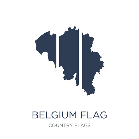 Belgium flag icon. Trendy flat vector Belgium flag icon on white background from Country Flags collection, vector illustration can be use for web and mobile, eps10  イラスト・ベクター素材