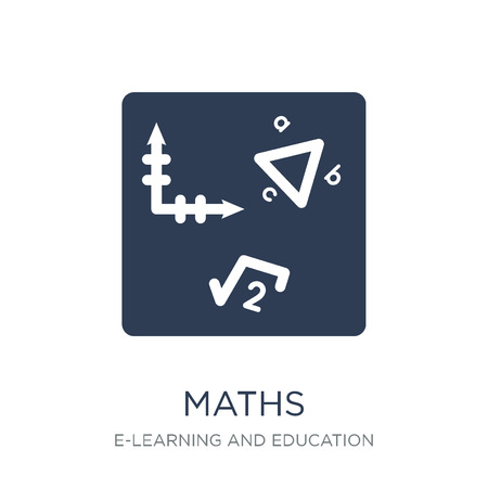 Maths icon. Trendy flat vector Maths icon on white background from E-learning and education collection, vector illustration can be use for web and mobile, eps10 Ilustrace