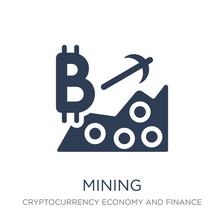 Mining icon. Trendy flat vector Mining icon on white background from Cryptocurrency economy and finance collection, vector illustration can be use for web and mobile, eps10 Иллюстрация