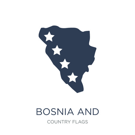 Bosnia and Herzegovina flag icon. Trendy flat vector Bosnia and Herzegovina flag icon on white background from Country Flags collection, vector illustration can be use for web and mobile, eps10