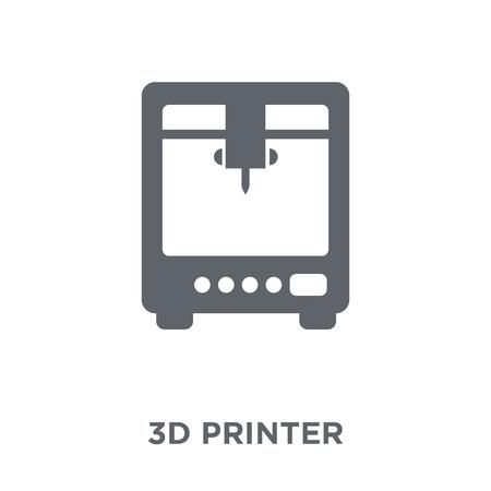 Ikona drukarki 3D. Koncepcja projektowania drukarki 3D z kolekcji urządzeń elektronicznych. Prosty element ilustracji wektorowych na białym tle.