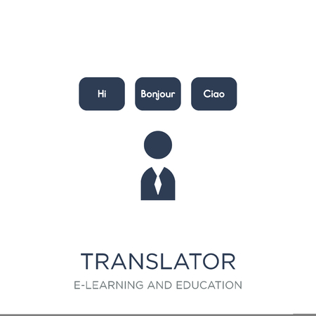 Translator icon. Trendy flat vector Translator icon on white background from E-learning and education collection, vector illustration can be use for web and mobile, eps10