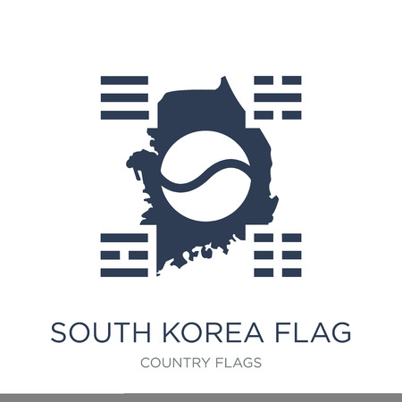 South Korea flag icon. Trendy flat vector South Korea flag icon on white background from Country Flags collection, vector illustration can be use for web and mobile, eps10