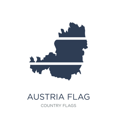 Austria flag icon. Trendy flat vector Austria flag icon on white background from Country Flags collection, vector illustration can be use for web and mobile, eps10