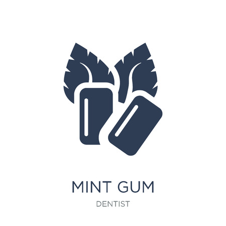 Mint gum icon. Trendy flat vector Mint gum icon on white background from Dentist collection, vector illustration can be use for web and mobile, eps10 Ilustração