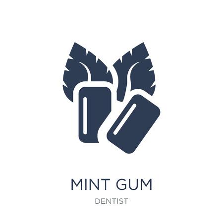 Minze-Kaugummi-Symbol. Trendiges flaches Vektor-Mint-Gummi-Symbol auf weißem Hintergrund aus der Zahnarztsammlung, Vektorillustration kann für Web und Mobile verwendet werden, eps10