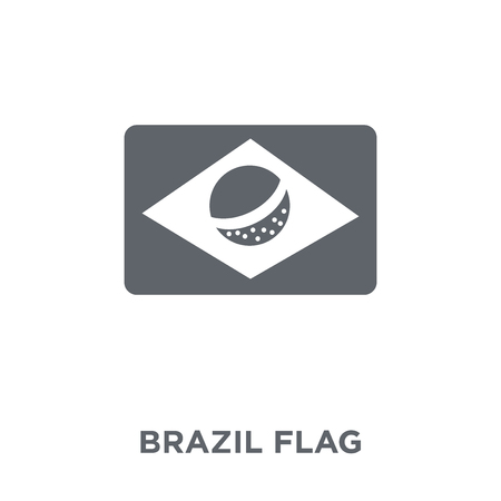 Brazil flag icon. Brazil flag design concept from Brazilian icons collection. Simple element vector illustration on white background. Illustration