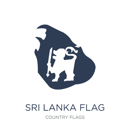 Sri Lanka flag icon. Trendy flat vector Sri Lanka flag icon on white background from Country Flags collection, vector illustration can be use for web and mobile, eps10 Illustration