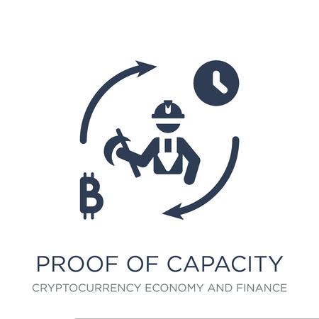 Symbol für den Kapazitätsnachweis. Trendy flacher Vektor-Nachweis der Kapazitätsikone auf weißem Hintergrund aus der Kryptowährungs-Wirtschafts- und Finanzsammlung, Vektorillustration kann für Web und Mobile verwendet werden, eps10