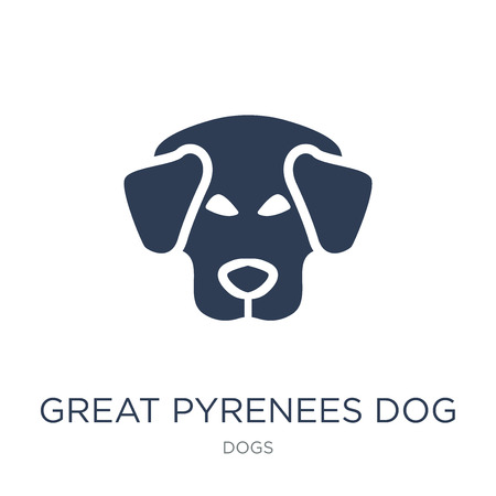 Great Pyrenees dog icon. Trendy flat vector Great Pyrenees dog icon on white background from dogs collection, vector illustration can be use for web and mobile, eps10