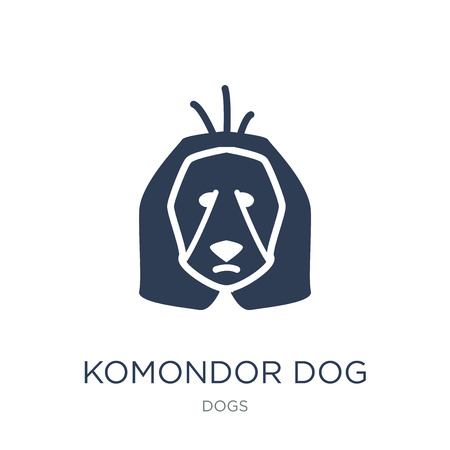Komondor dog icon. Trendy flat vector Komondor dog icon on white background from dogs collection, vector illustration can be use for web and mobile, eps10  イラスト・ベクター素材