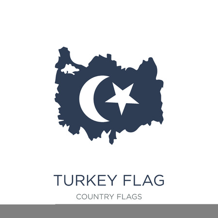 Turkey flag icon. Trendy flat vector Turkey flag icon on white background from Country Flags collection, vector illustration can be use for web and mobile, eps10