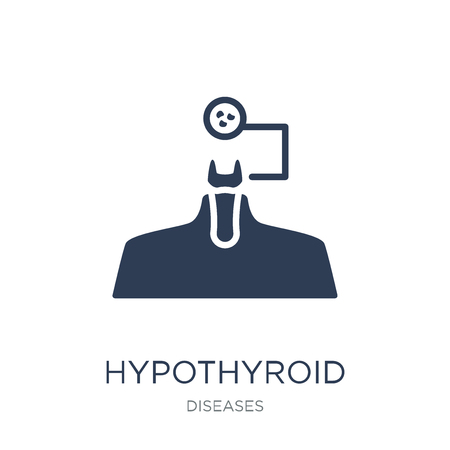 Hypothyroid icon. Trendy flat vector Hypothyroid icon on white background from Diseases collection, vector illustration can be use for web and mobile, eps10 Illustration