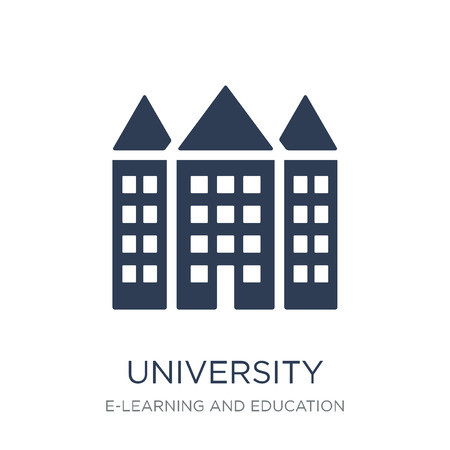 University icon. Trendy flat vector University icon on white background from E-learning and education collection, vector illustration can be use for web and mobile, eps10 Çizim