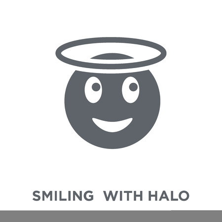 Smiling  With Halo emoji icon. Smiling  With Halo emoji design concept from Emoji collection. Simple element vector illustration on white background.