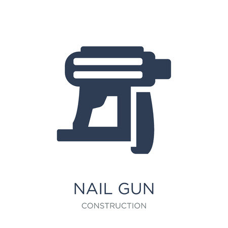 Nail gun icon. Trendy flat vector Nail gun icon on white background from Construction collection, vector illustration can be use for web and mobile, eps10 向量圖像