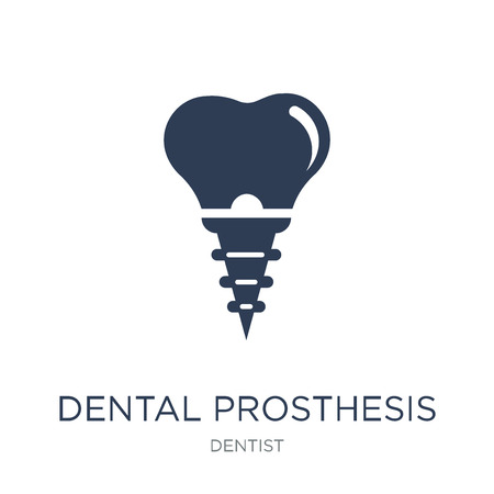 Dental prosthesis icon. Trendy flat vector Dental prosthesis icon on white background from Dentist collection, vector illustration can be use for web and mobile, eps10
