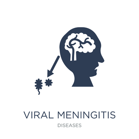 Viral meningitis icon. Trendy flat vector Viral meningitis icon on white background from Diseases collection, vector illustration can be use for web and mobile, eps10 Иллюстрация