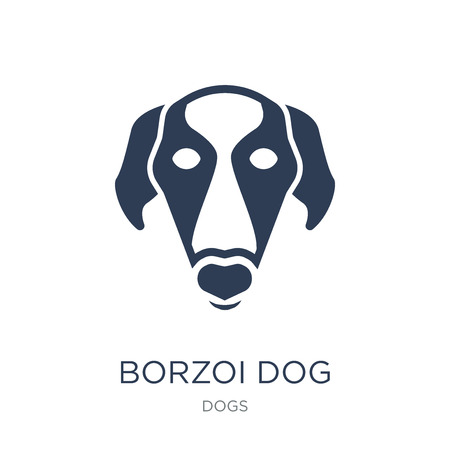 Borzoi dog icon. Trendy flat vector Borzoi dog icon on white background from dogs collection, vector illustration can be use for web and mobile, eps10 Banque d'images - 112099734