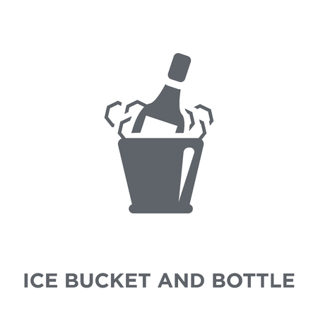 Ice bucket and bottle icon. Ice bucket and bottle design concept from Drinks collection. Simple element vector illustration on white background.