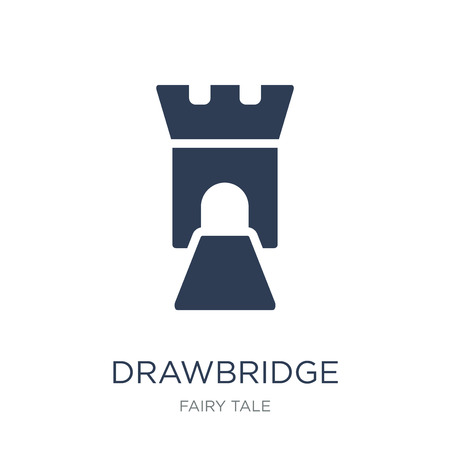 drawbridge icon. Trendy flat vector drawbridge icon on white background from Fairy Tale collection, vector illustration can be use for web and mobile, eps10