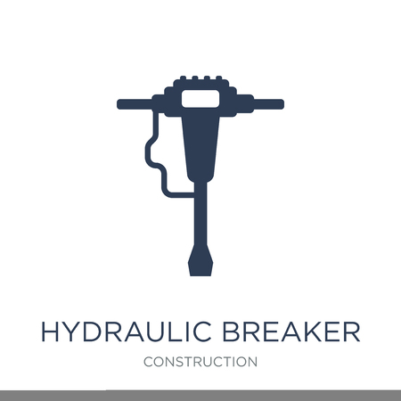 Hydraulic breaker icon. Trendy flat vector Hydraulic breaker icon on white background from Construction collection, vector illustration can be use for web and mobile, eps10