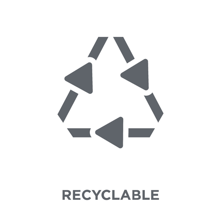 Recyclable icon. Recyclable design concept from Ecology collection. Simple element vector illustration on white background. Ilustração