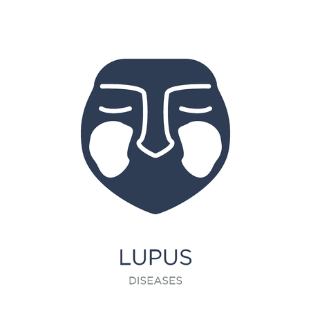 Lupus erythematosus icon. Trendy flat vector Lupus erythematosus icon on white background from Diseases collection, vector illustration can be use for web and mobile, eps10 Illustration
