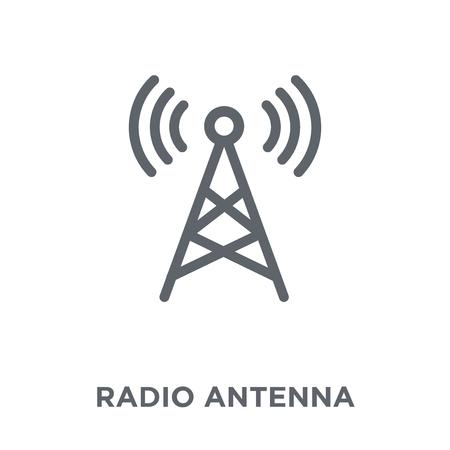 Icono de antena de radio. Concepto de diseño de antena de radio de colección comunicación. Ilustración de vector de elemento simple sobre fondo blanco.