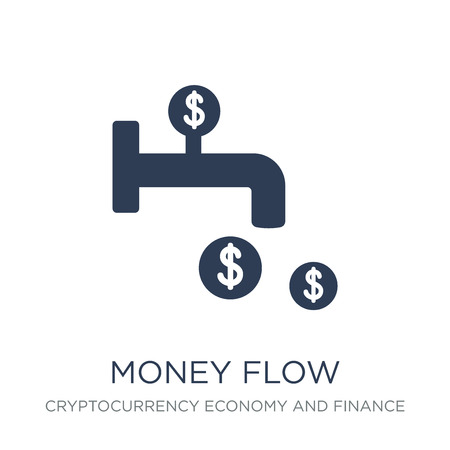 Money flow icon. Trendy flat vector Money flow icon on white background from Cryptocurrency economy and finance collection, vector illustration can be use for web and mobile, eps10