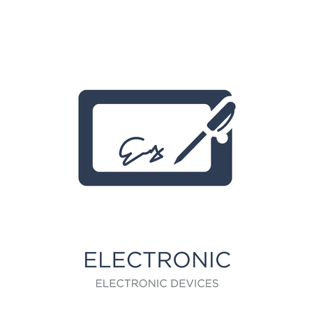 electronic signature icon. Trendy flat vector electronic signature icon on white background from Electronic devices collection, vector illustration can be use for web and mobile, eps10 Banco de Imagens - 111957075