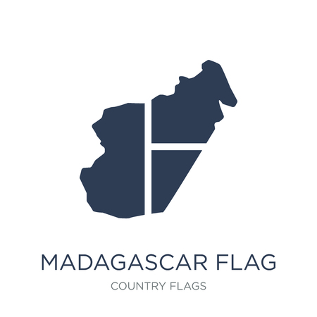 Madagascar flag icon. Trendy flat vector Madagascar flag icon on white background from Country Flags collection, vector illustration can be use for web and mobile, eps10 Фото со стока - 111957224