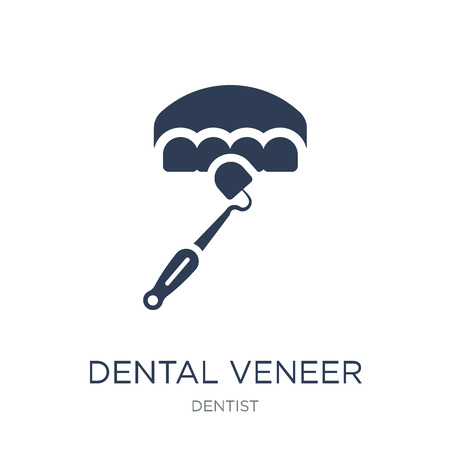 Dental veneer icon. Trendy flat vector Dental veneer icon on white background from Dentist collection, vector illustration can be use for web and mobile, eps10 Illustration