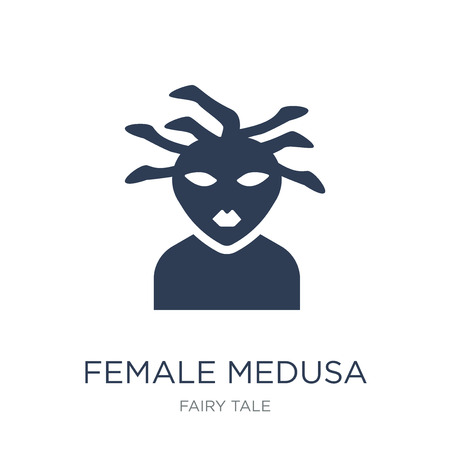 female Medusa icon. Trendy flat vector female Medusa icon on white background from Fairy Tale collection, vector illustration can be use for web and mobile, eps10 Banque d'images - 111956988