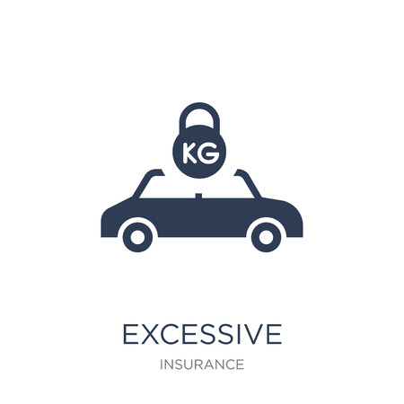Excessive weight for the vehicle icon. Trendy flat vector Excessive weight for the vehicle icon on white background from Insurance collection, vector illustration can be use for web and mobile, eps10 Stock Vector - 111956912