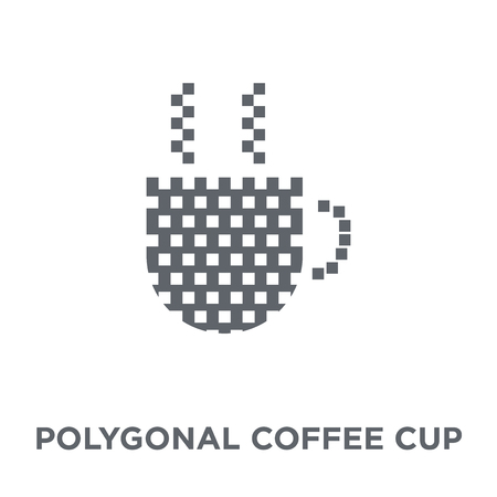 Polygonal coffee cup icon. Polygonal coffee cup design concept from Geometry collection. Simple element vector illustration on white background. 向量圖像