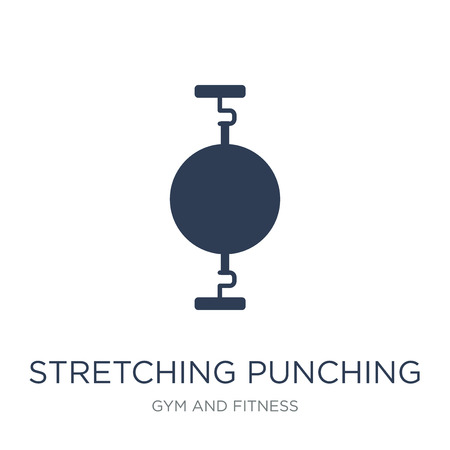 Stretching Punching Ball icon. Trendy flat vector Stretching Punching Ball icon on white background from Gym and fitness collection, vector illustration can be use for web and mobile, eps10  イラスト・ベクター素材