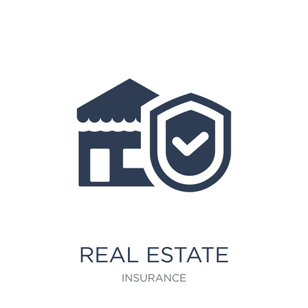 Real estate insurance icon. Trendy flat vector Real estate insurance icon on white background from Insurance collection, vector illustration can be use for web and mobile, eps10