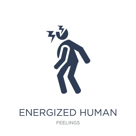 energized human icon. Trendy flat vector energized human icon on white background from Feelings collection, vector illustration can be use for web and mobile, eps10
