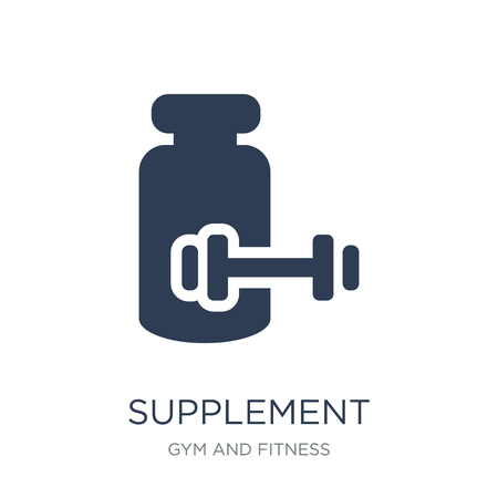 Supplement icon. Trendy flat vector Supplement icon on white background from Gym and fitness collection, vector illustration can be use for web and mobile, eps10 Stok Fotoğraf - 112100180